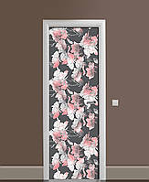 Декор двері Наклейка вінілова Пастельні квіти Акварель ПВХ плівка з ламінуванням 65*200см абстракція Сірий