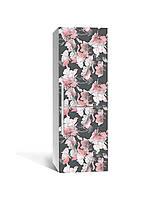 Наклейка на холодильник Пастельні квіти Акварель (плівка ПВХ з ламінуванням) 65*200см абстракція Сірий
