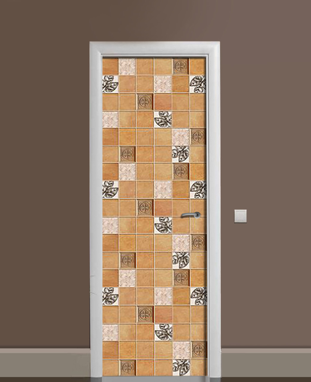Декоративная наклейка на двери Кофейная плитка ПВХ пленка с ламинацией 65*200см Геометрия Бежевый