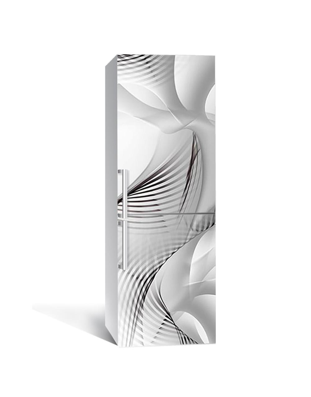 Вінілова 3Д наклейка на холодильник Обман зору Лінії (плівка ПВХ фотодрук) 65*200см Абстракція Сірий