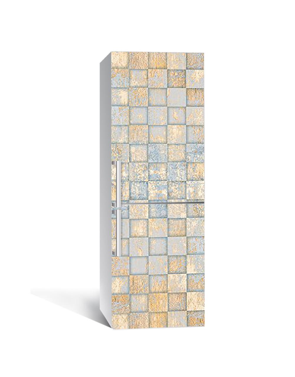 Декор 3Д наклейка на холодильник Золотые Квадраты (пленка ПВХ фотопечать) 65*200см Геометрия Голубой