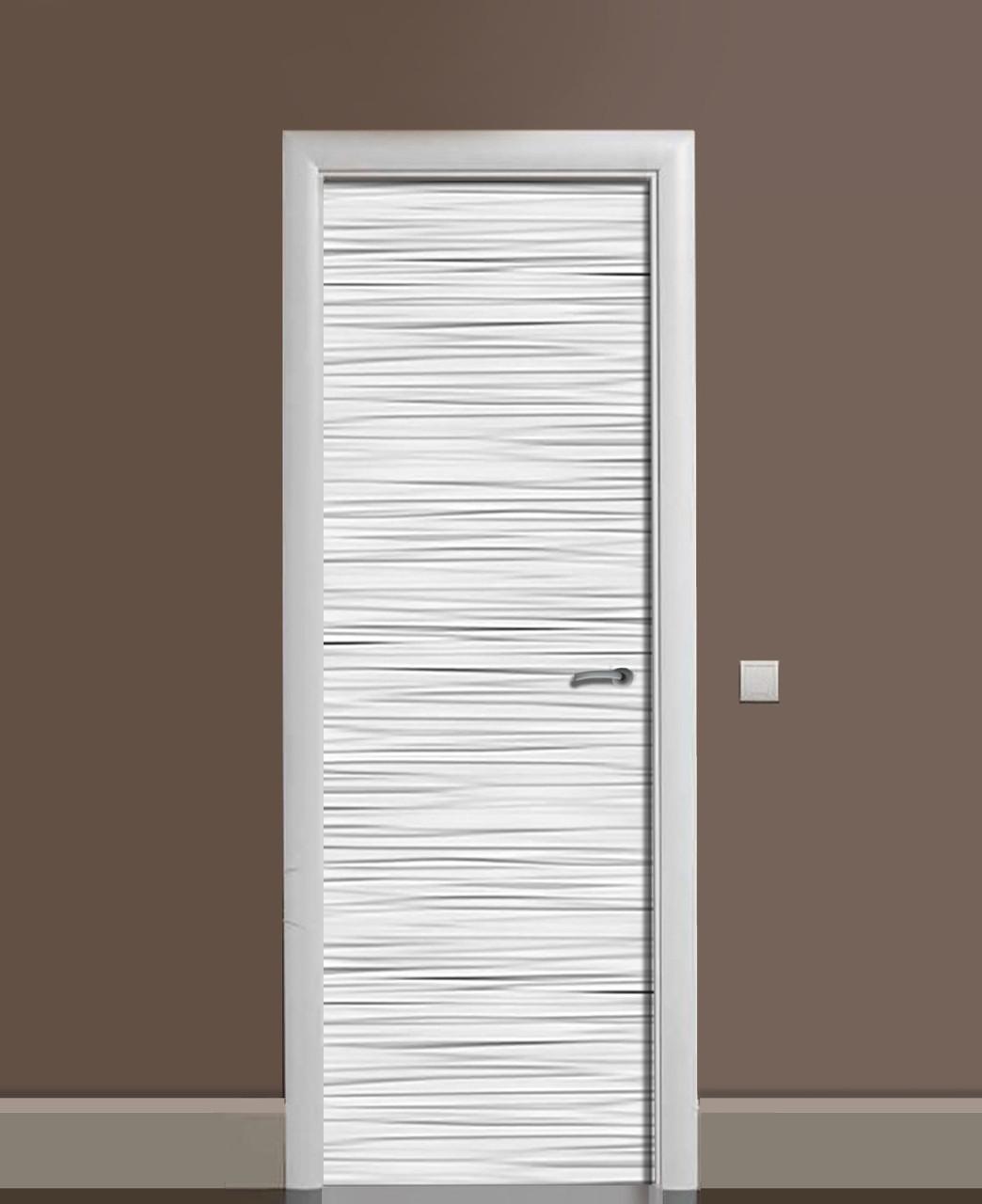 Декор двери Наклейка виниловая Мятый лён 3Д эффект ПВХ пленка с ламинацией 65*200см Текстуры Серый