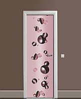 Декоративная наклейка на двери Черный жемчуг Сферы ПВХ пленка с ламинацией 65*200см Абстракция Розовый