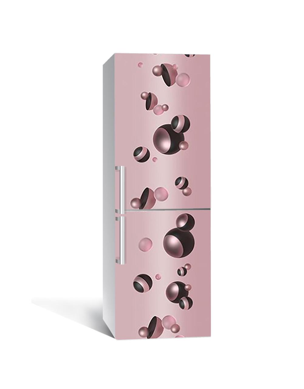 Декор 3Д наклейка на холодильник Чорна перлина Сфери (плівка ПВХ фотодрук) 65*200см Абстракція Рожевий
