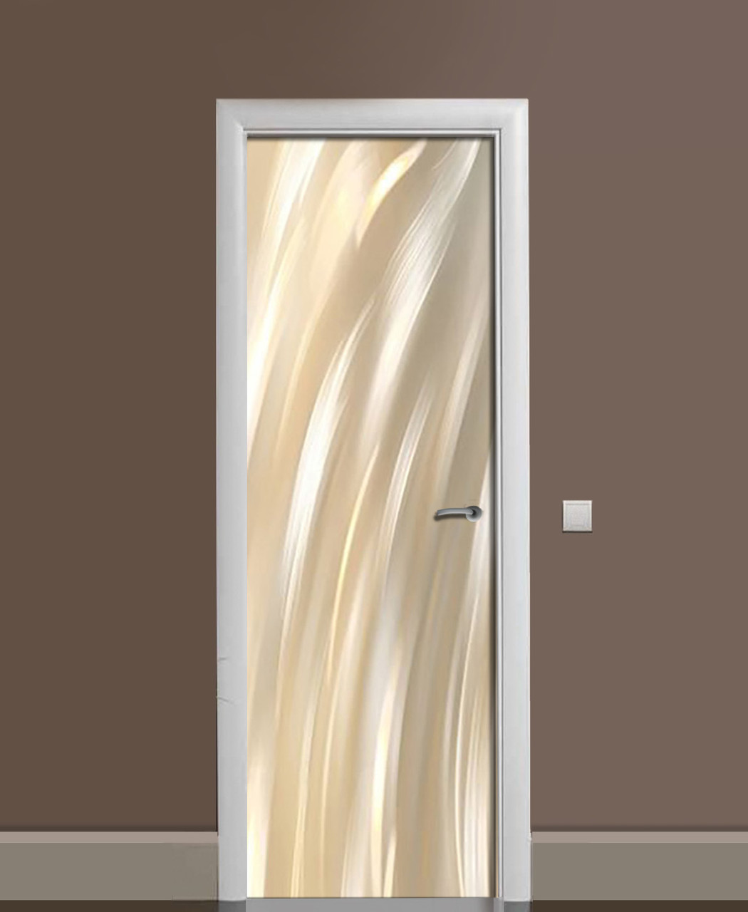 Вінілові наклейки на двері Пастельні мазки фарби ПВХ плівка з ламінуванням 65*200см Текстура Бежевий