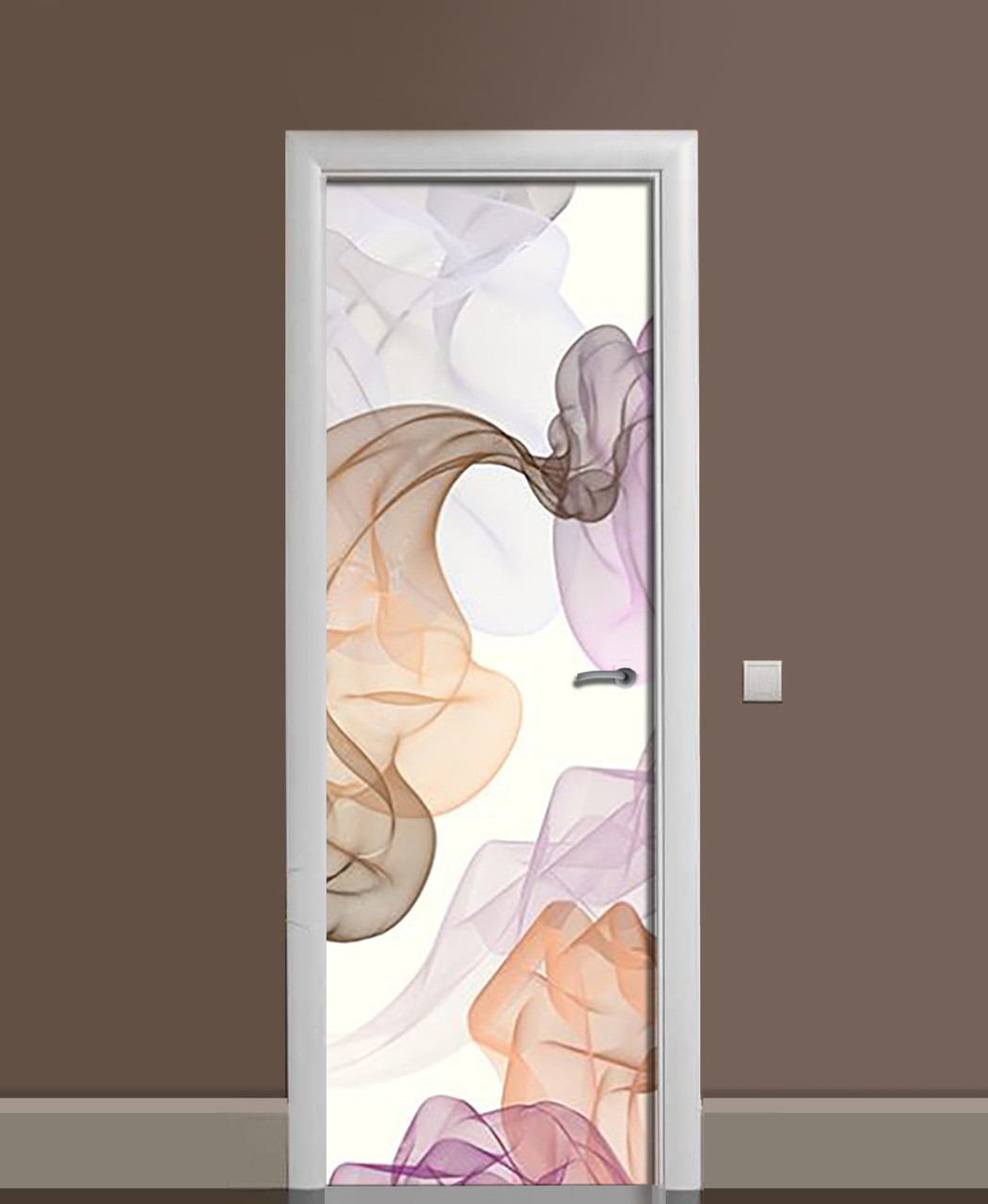 Вінілова наклейка на двері Повітряний шифон ПВХ плівка з ламінуванням 65*200см Абстракція Фіолетовий