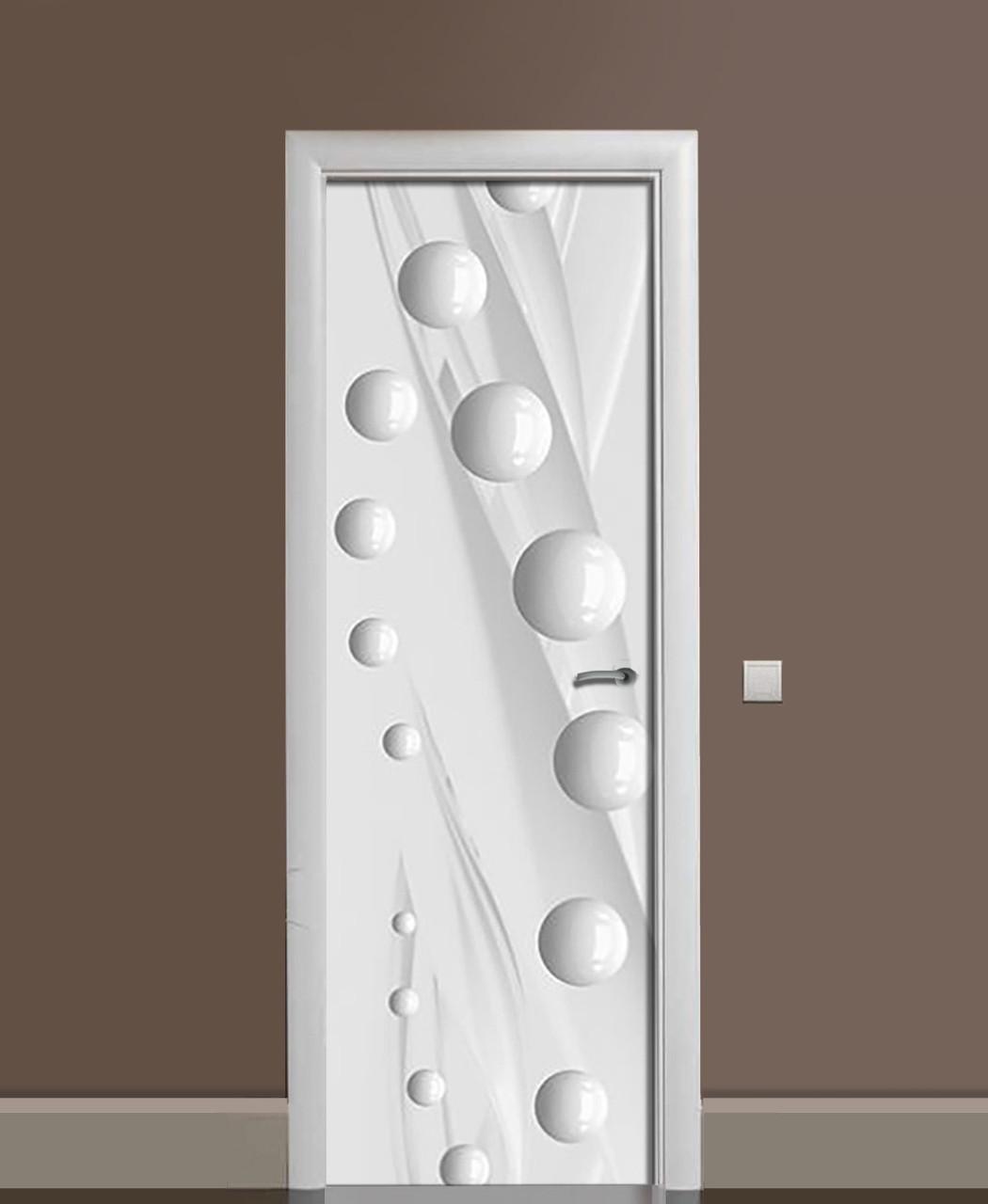 Вінілові наклейки на двері Глянцеві Сфери білі ПВХ плівка з ламінуванням 65*200см Геометрія Сірий