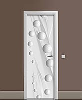 Виниловые наклейки на дверь Глянцевые Сферы белые ПВХ пленка с ламинацией 65*200см Геометрия Серый