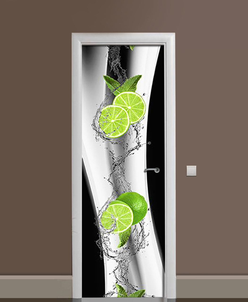 Декор двері Наклейка вінілова Лайми Бризки Чорно-білий фон ПВХ плівка з ламінуванням 65*200см Цитрусові