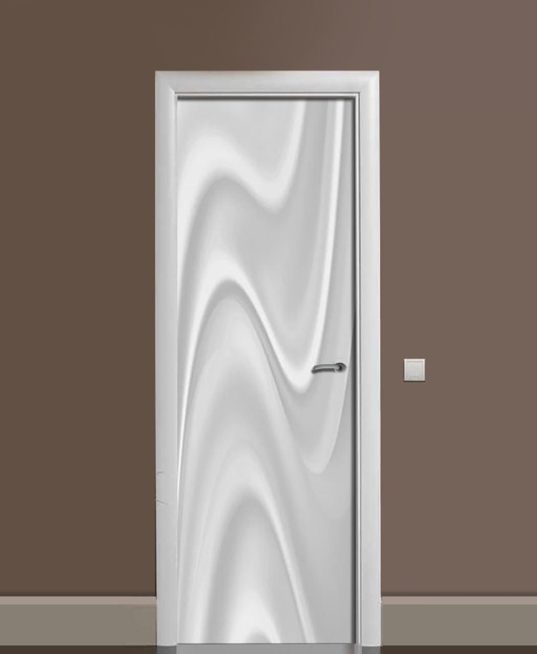 Виниловая наклейка на дверь Белые разводы Шелк ПВХ пленка с ламинацией 65*200см Текстуры Серый