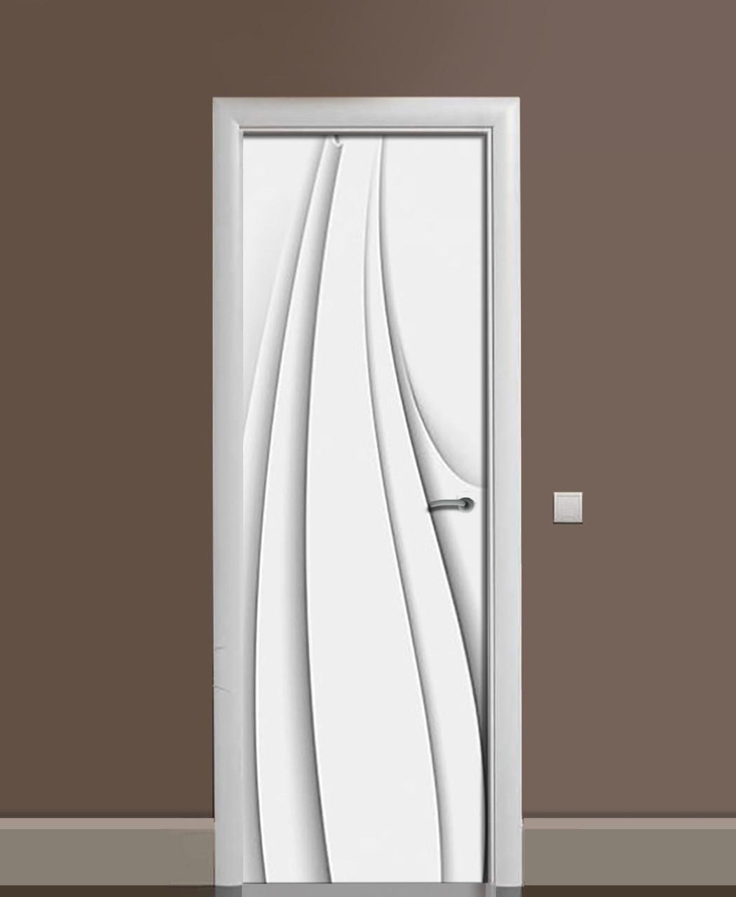 Вінілові наклейки на двері Тонкі Лінії ПВХ плівка з ламінуванням 65*200см Абстракція Сірий