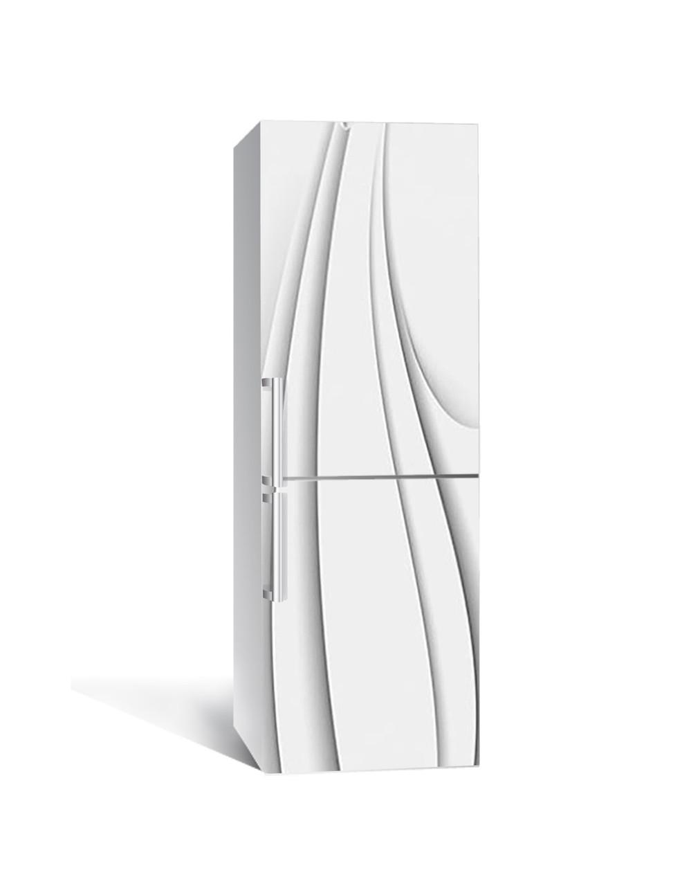 Вінілова 3Д наклейка на холодильник Тонкі Лінії (плівка ПВХ з ламінуванням) 65*200см Абстракція Сірий