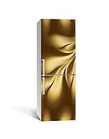 Наклейка на холодильник Золото Шовк Тканина (плівка ПВХ з ламінуванням) 65*200см Текстура Бежевий