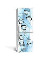 Декор 3Д наклейка на холодильник Вода з льодом Кубики (плівка ПВХ фотодрук) 65*200см Текстура Блакитний