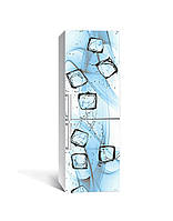 Декор 3Д наклейка на холодильник Вода со льдом Кубики (пленка ПВХ фотопечать) 65*200см Текстуры Голубой