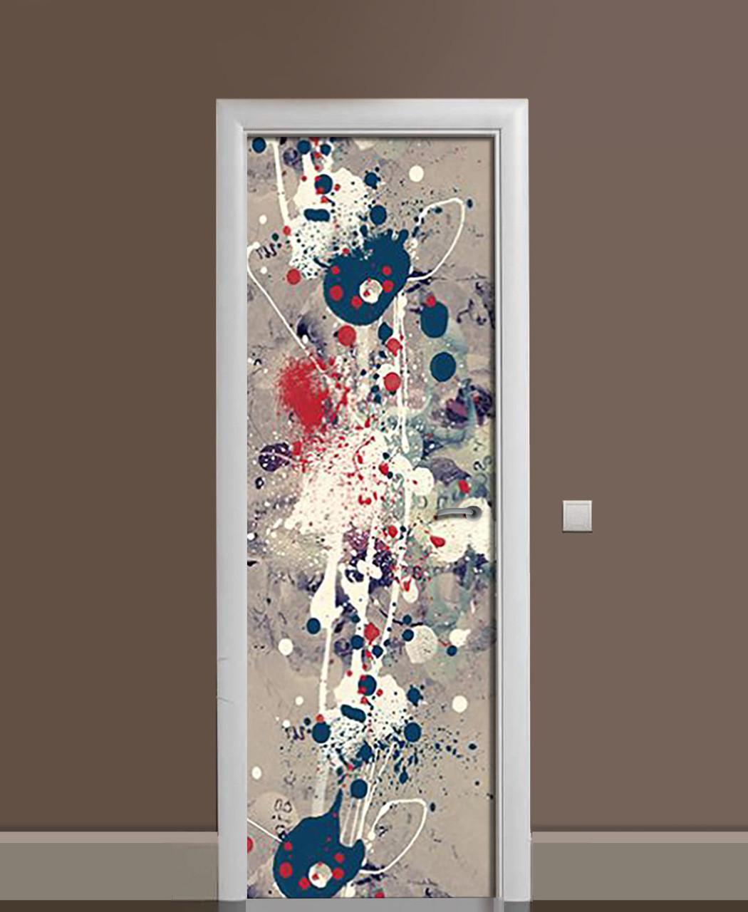 Декоративна наклейка на двері Бризки фарби Плями ПВХ плівка з ламінуванням 65*200см Абстракція Сірий