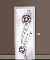Декор двері Наклейка вінілова Абстрактна Геометрія Сфери ПВХ плівка з ламінуванням 65*200см Абстракція Сірий