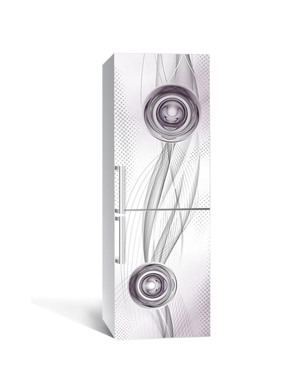 Наклейка на холодильник Абстрактна Геометрія Сфери (плівка ПВХ фотодрук) 65*200см Абстракція Сірий