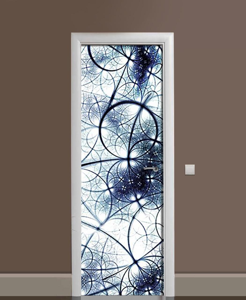 Декоративна наклейка на двері Сфери Неоновий Світло ПВХ плівка з ламінуванням 65*200см Геометрія Синій