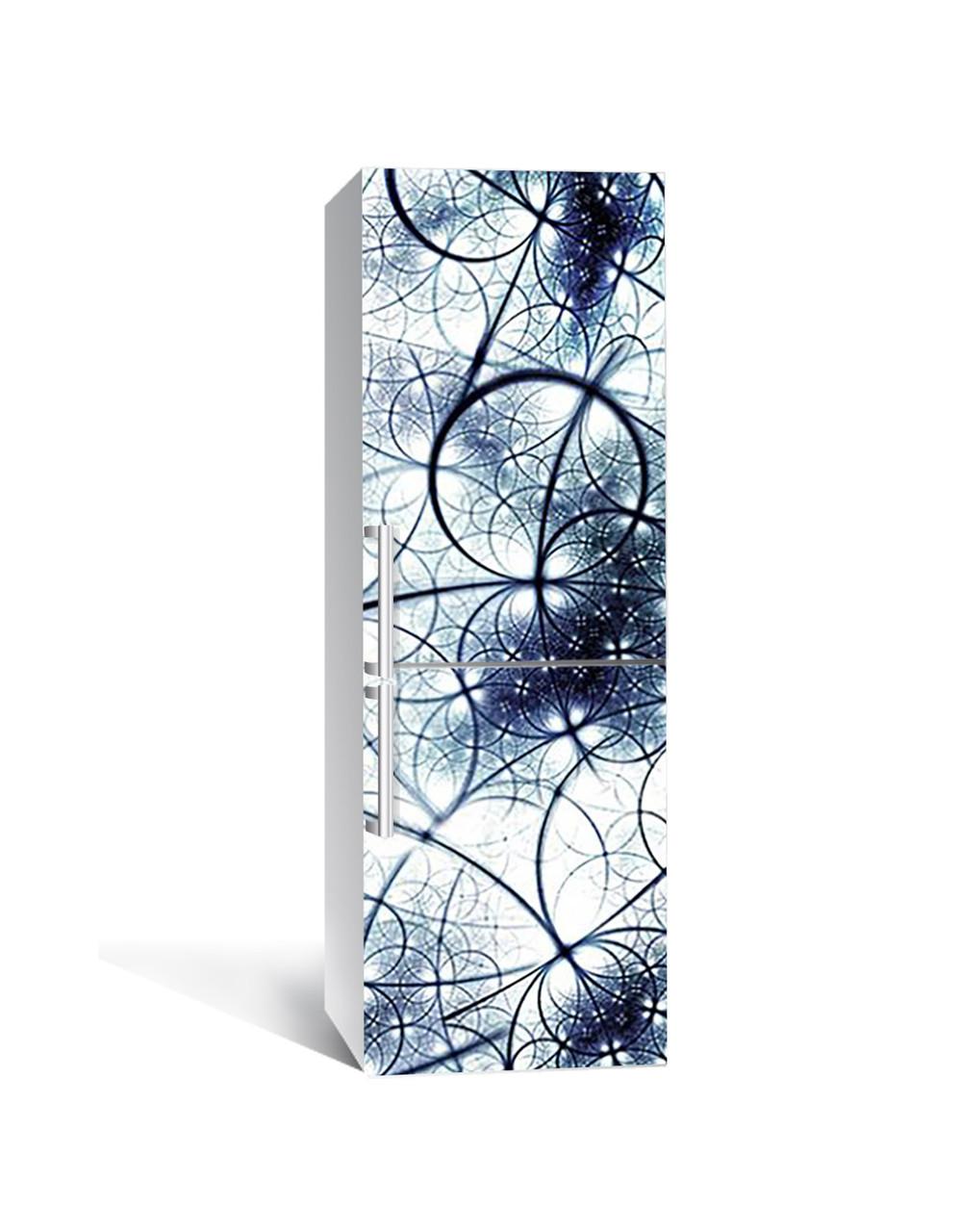 Декор 3Д наклейка на холодильник Сфери Неоновий Світло (плівка ПВХ фотодрук) 65*200см Геометрія Синій