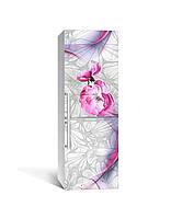 Вінілова 3Д наклейка на холодильник Квіти Візерунки орнамент (плівка ПВХ фотодрук) 65*200см Абстракція Сірий