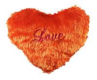 Подушка сердце травка оранжевая