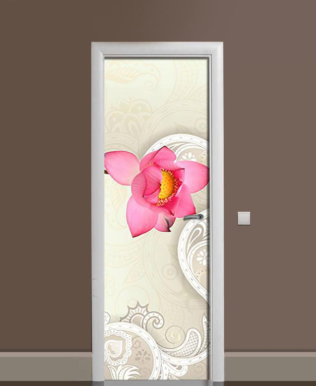 Вінілова наклейка на двері Лотос Орнамент ПВХ плівка з ламінуванням 65*200см Абстракція Бежевий