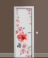 Декор двери Наклейка виниловая Гибискус Штукатурка цветы ПВХ пленка с ламинацией 65*200см Текстуры Розовый