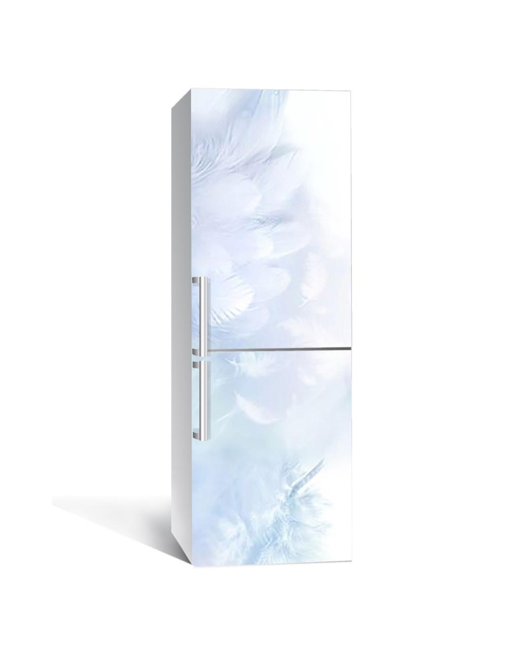 Вінілова наклейка на холодильник 3Д Лебединий пух Пір'я (плівка ПВХ фотодрук) 65*200см Текстура Блакитний