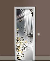 Декоративная наклейка на двери Бронзовые цветы ПВХ пленка с ламинацией 65*200см Абстракция Серый
