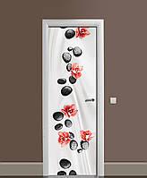 Декор двери Наклейка виниловая Камни и Орхидеи цветы ПВХ пленка с ламинацией 65*200см Текстуры Серый