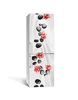Наклейка на холодильник Камни и Орхидеи цветы (пленка ПВХ с ламинацией) 65*200см Текстуры Серый