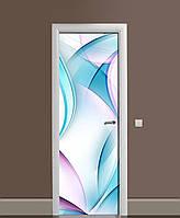 Декоративна наклейка на двері Бірюзові лінії ПВХ плівка з ламінуванням 65*200см Абстракція Блакитний