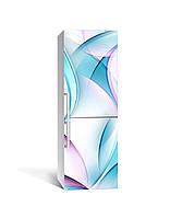 Декор 3Д наклейка на холодильник Бірюзові лінії (плівка ПВХ фотодрук) 65*200см Абстракція Блакитний