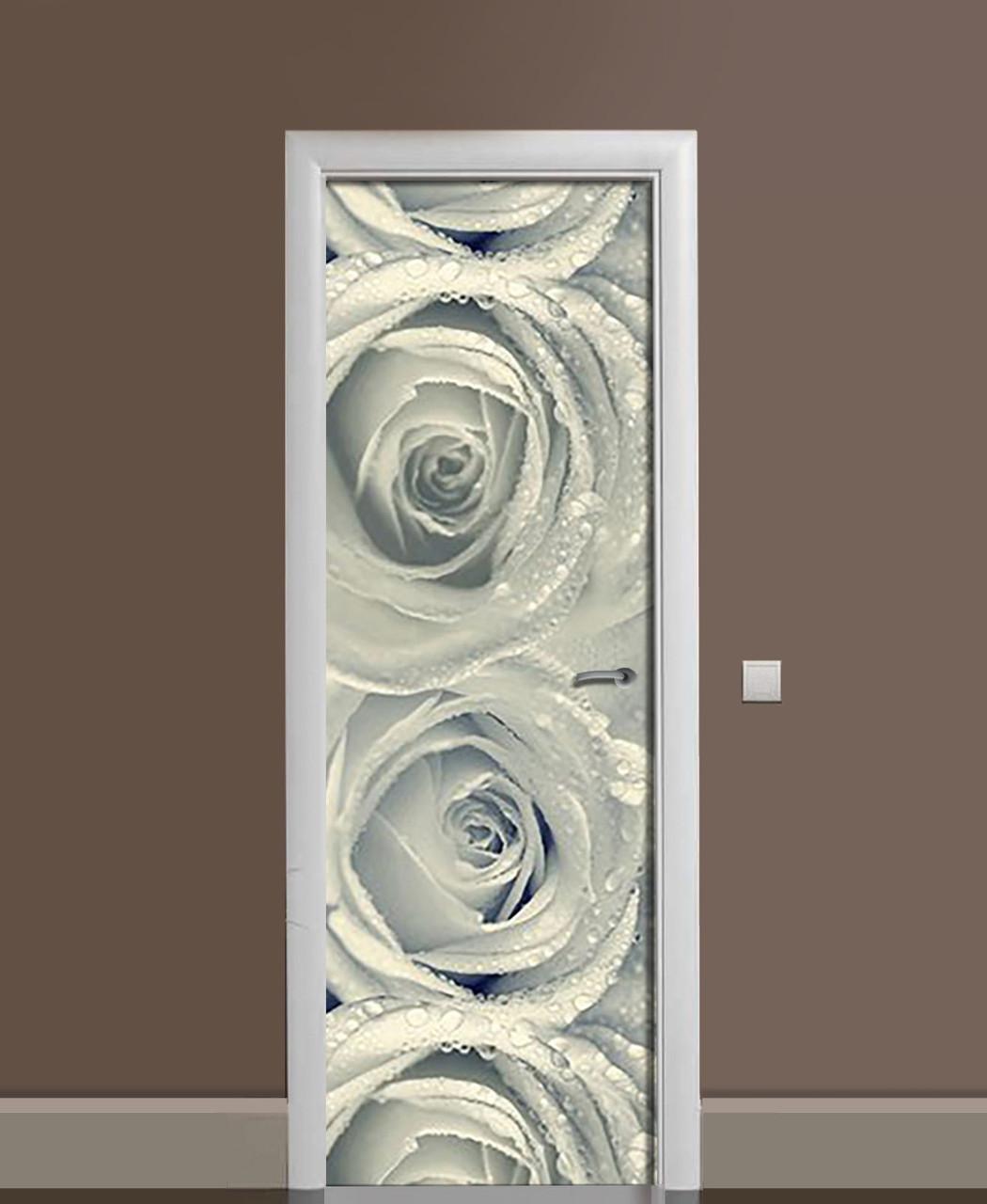 Декор двери Наклейка виниловая Роса в бутонах Розы черно-белые ПВХ пленка с ламинацией 65*200см Цветы Серый