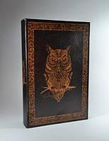 Книга-сейф для хранения денег на ключе Сова brown 26 см. Оригинальный подарок для друга.