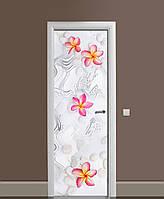 Виниловая наклейка на дверь Гавайские цветы Камни ПВХ пленка с ламинацией 65*200см Текстуры Серый