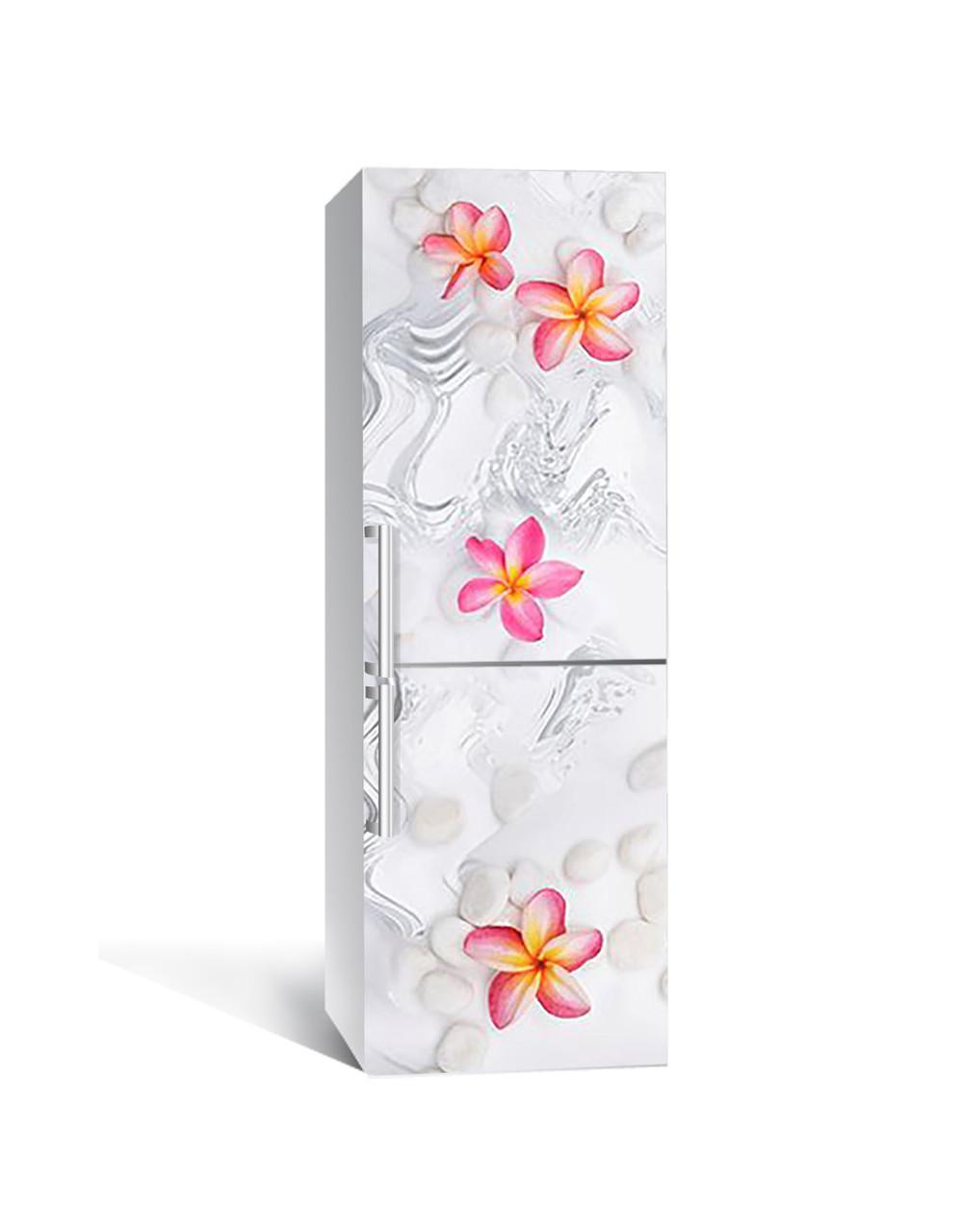Вінілова наклейка на холодильник 3Д Гавайські квіти Камені (плівка ПВХ фотодрук) 65*200см Текстура Сірий
