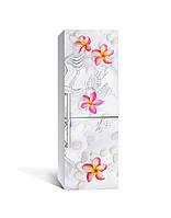 Виниловая наклейка на холодильник 3Д Гавайские цветы Камни (пленка ПВХ фотопечать) 65*200см Текстуры Серый