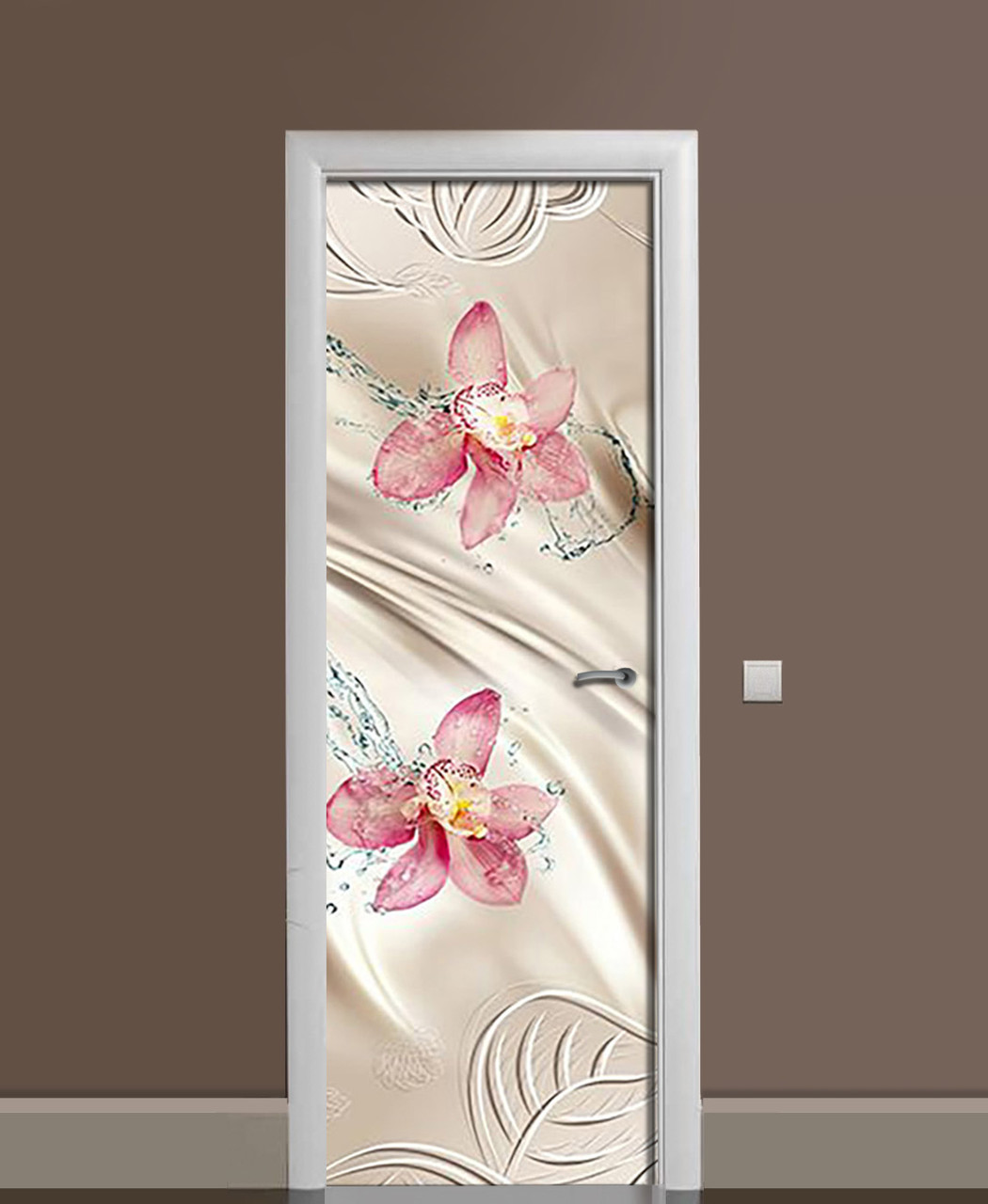 Вінілова наклейка на двері Шовк Вода Орхідеї ПВХ плівка з ламінуванням 65*200см Текстура Бежевий