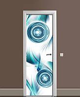 Вінілові наклейки на двері Бірюзові Сфери ПВХ плівка з ламінуванням 65*200см Абстракція Синій