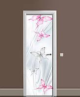 Декоративна наклейка на двері Ніжні Метелики метелики ПВХ плівка з ламінуванням 65*200см Тварини Сірий