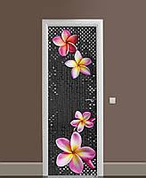 Виниловые наклейки на дверь Гавайский цветок ПВХ пленка с ламинацией 65*200см камень Текстура Серый