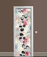 Виниловая наклейка на дверь Яркий мрамор камни ПВХ пленка с ламинацией 65*200см Текстуры Серый