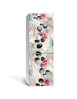Виниловая наклейка на холодильник 3Д Яркий мрамор камни (пленка ПВХ фотопечать) 65*200см Текстуры Серый