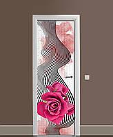 Декоративна наклейка на двері Обман зору Роза ПВХ плівка з ламінуванням 65*200см Абстракція Рожевий