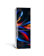 Виниловая 3Д наклейка на холодильник Неоновое свечение (пленка ПВХ фотопечать) 65*200см Абстракция Синий