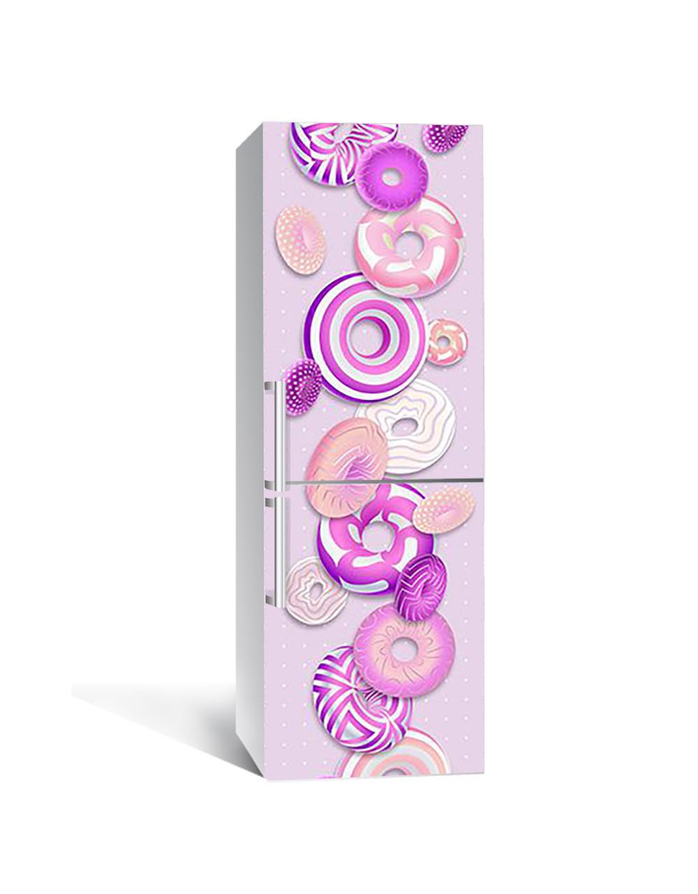 Декор 3Д наклейка на холодильник Сиреневые пончики (пленка ПВХ с ламинацией) 65*200см Еда Фиолетовый