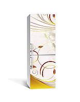 Наклейка на холодильник Золоті завитки рослини (плівка ПВХ фотодрук) 65*200см Абстракція Бежевий