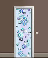 Декоративна наклейка на двері Смугасті намиста ПВХ плівка з ламінуванням 65*200см Абстракція Блакитний